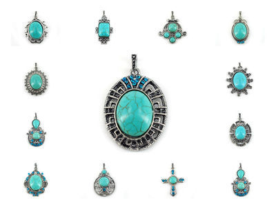 72 X Turquoise Pendants ( Set Two ) #191