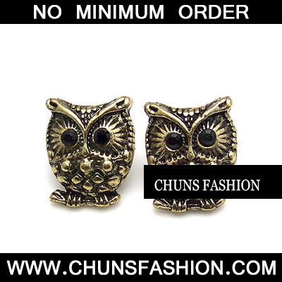 Bronze Retro Owl Stud Earring