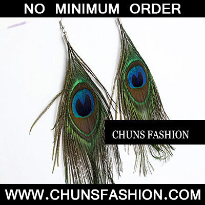 Green Peafowl Feather Delicate Feather Earring