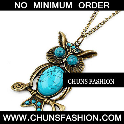 Skyblue Owl Pendant Necklace