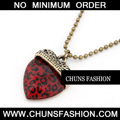 dark Red Leopard Pattern Heart Shape