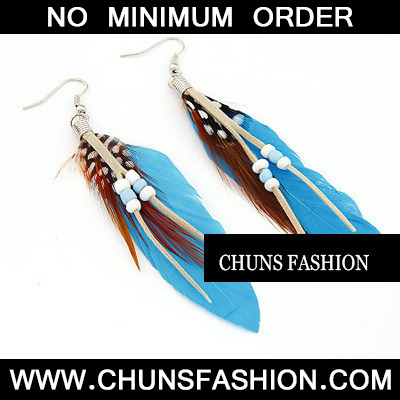 Blue Feather With Bead Earring