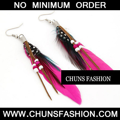 Plum Red Feather With Bead Charm
