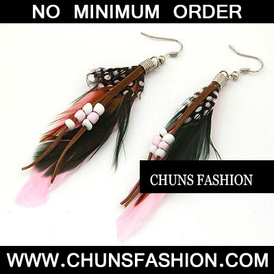 Pink Feather With Bead Charm Earring
