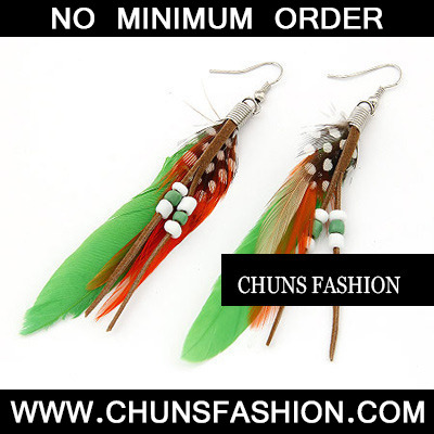 Green Feather With Bead Charm Feather