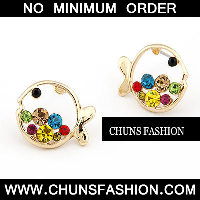 Multicolour Fish With Colour Rhinestones Stud Earring