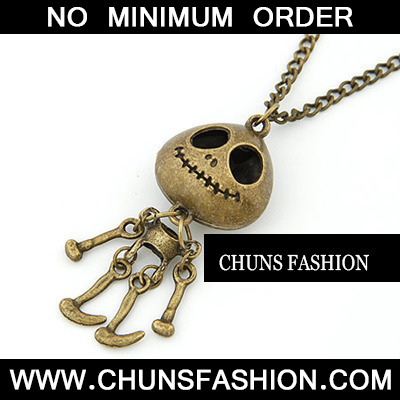 Bronze Human Skeleton Pendant Necklace