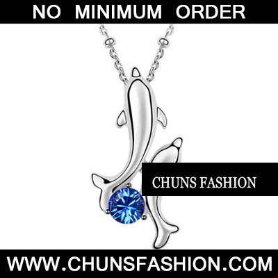 Dark Blue Happy Dolphin Crystal Necklace