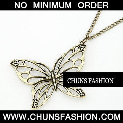 Bronze Hollow Out Butterfly Necklace