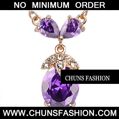 Purple Angle Tears Zircon Necklace