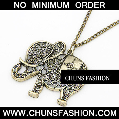 Bronze Hollow Out Elephant Necklace