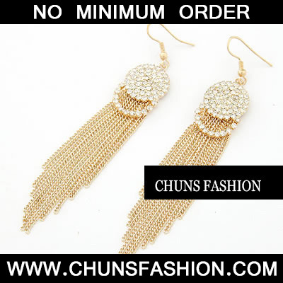 Gold Length Tassels Charm Earring