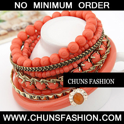 Orange Bead Multilayer Bangle