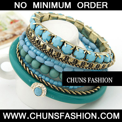 Blue Bead Multilayer Bangle