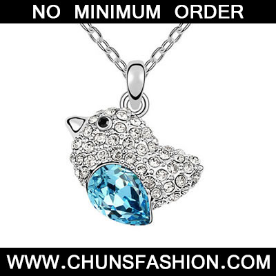 Rated sea Blue Lovebirds Crystal Necklace