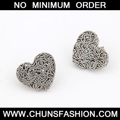 Antique Silver Weave Heart Shape Stud Earring