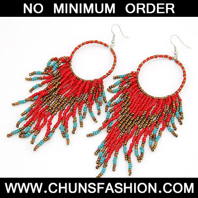 Red Handmade Bead Tassels Earring