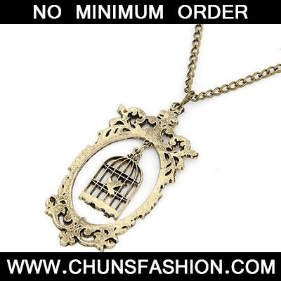 Bronze Birdcage Pendat Necklace