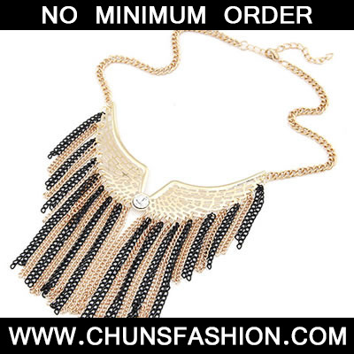 Black All Match Wing Tassels Necklace