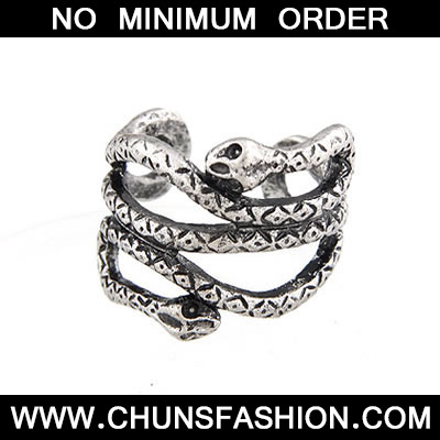 Antique Silver Luckly Snake Ring