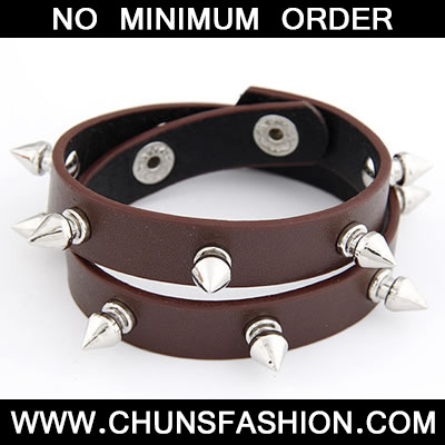 Coffee Rivet Double Layer PU Bracele
