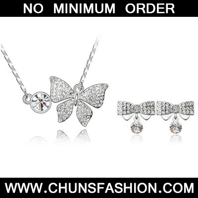 White Set Butterfly Crystal Set