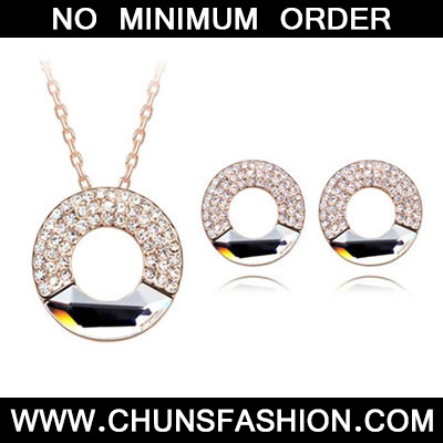 White Set Concentric Circles Crystal Set