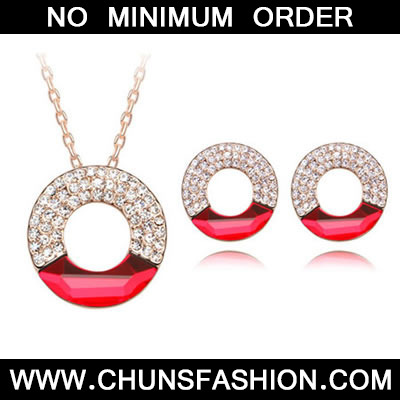 Red Set Concentric Circles Crystal Set
