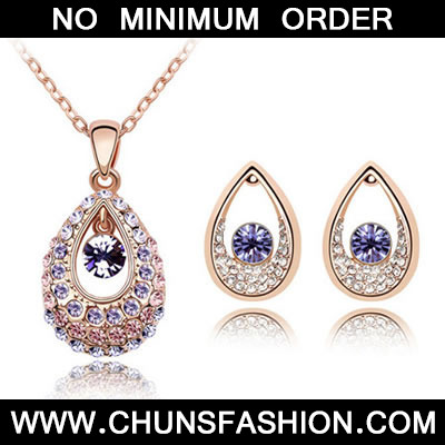 Rose Gold+Purple Set Thindu Princess Crystal Set