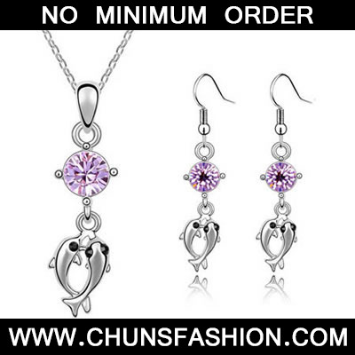 Violet Set Double Dolphin Crystal Set