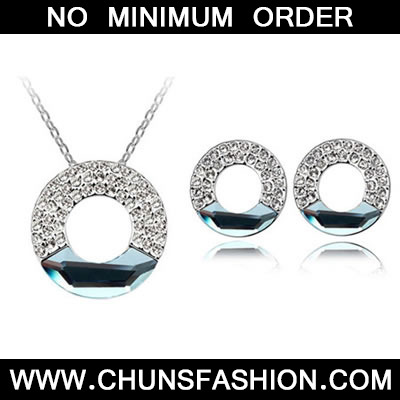 Sea Blue Set Concentric Circles Crystal Set