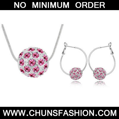 Plum Red Set Colorful Ball Crystal Set
