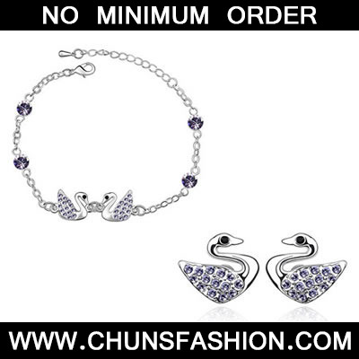 pale pinkish purple Set Swan Crystal Set