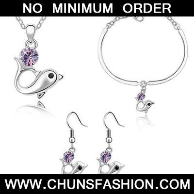Violet Set Dolphin Crystal Set