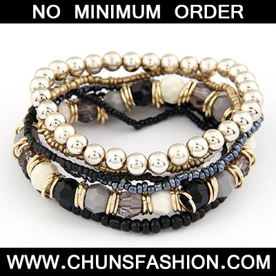 Black Bohemian Style Multilayer Bead Bracele