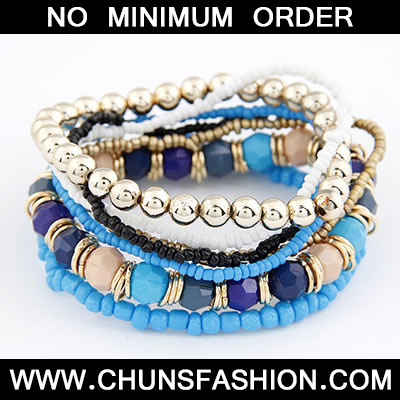 Blue Personality Multilayer Bead Bracele