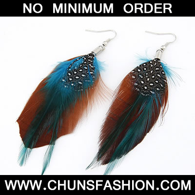 Coffee Double Feather Feather Earring