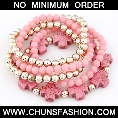 Pink Cross Multilayer Bead Bracele