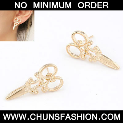 Bronze Scissors Shape Stud Earring