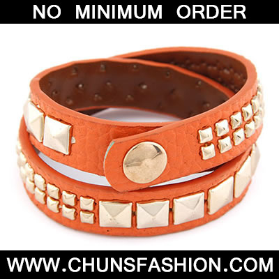 Orange Multi Rivet PU Bracele