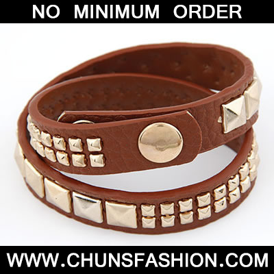 Brown Double Layer Rivet PU Bracele
