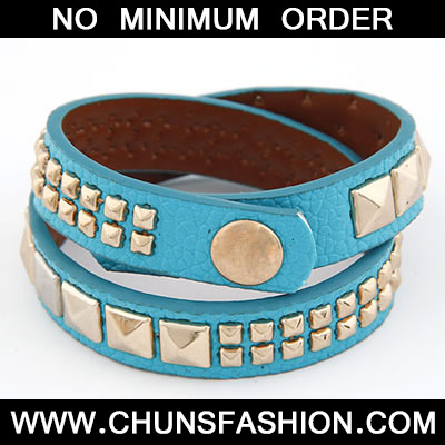 Blue Double Layer Rivet PU Bracele