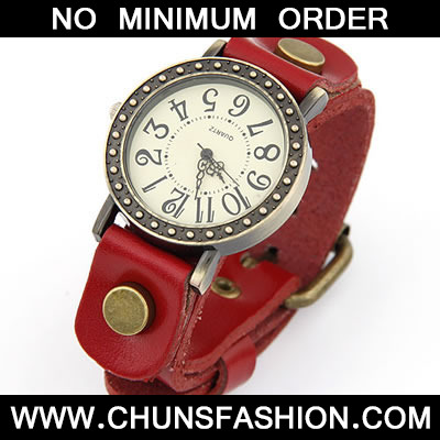 Red Classic Casual Women Leather Ladies