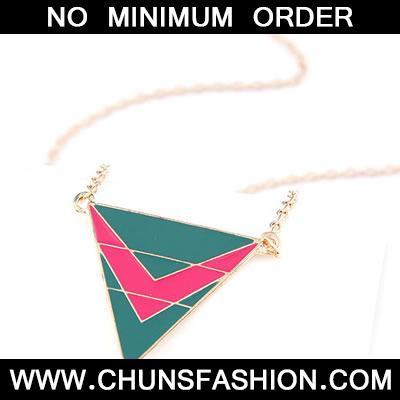 Green Matching Triangle Necklace