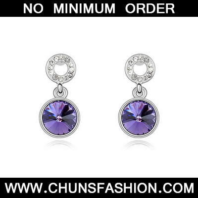 Pale Pinkish Purple Purple Crystal Earring