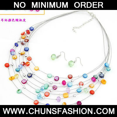 Multicolour Shell Multilayer Jewelry Set