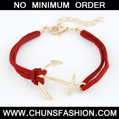 Red Boat Anchor Pu Bracele