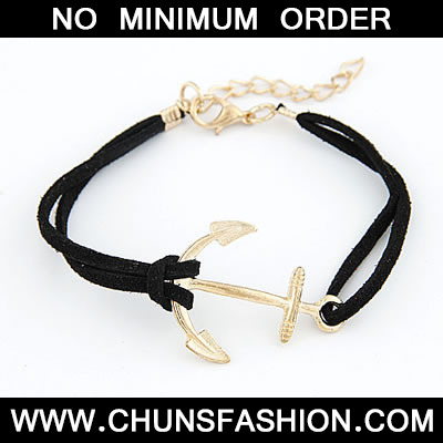 Black Boat Anchor Pu Bracele