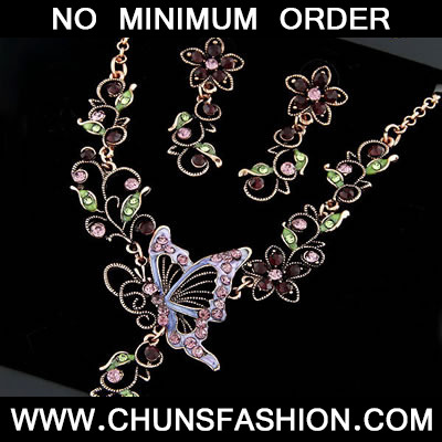 Multicolour Butterfly Flower Czechic Zircon Jewelry Sets