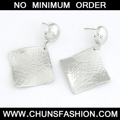 Silver Vintage Square Shape Stud Earring